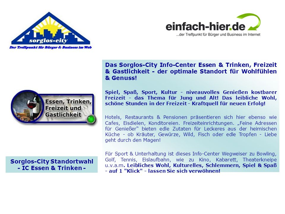 Sorglos-City Standortwahl - IC Essen & Trinken -