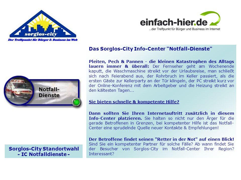 Sorglos-City Standortwahl - IC Notfalldienste -