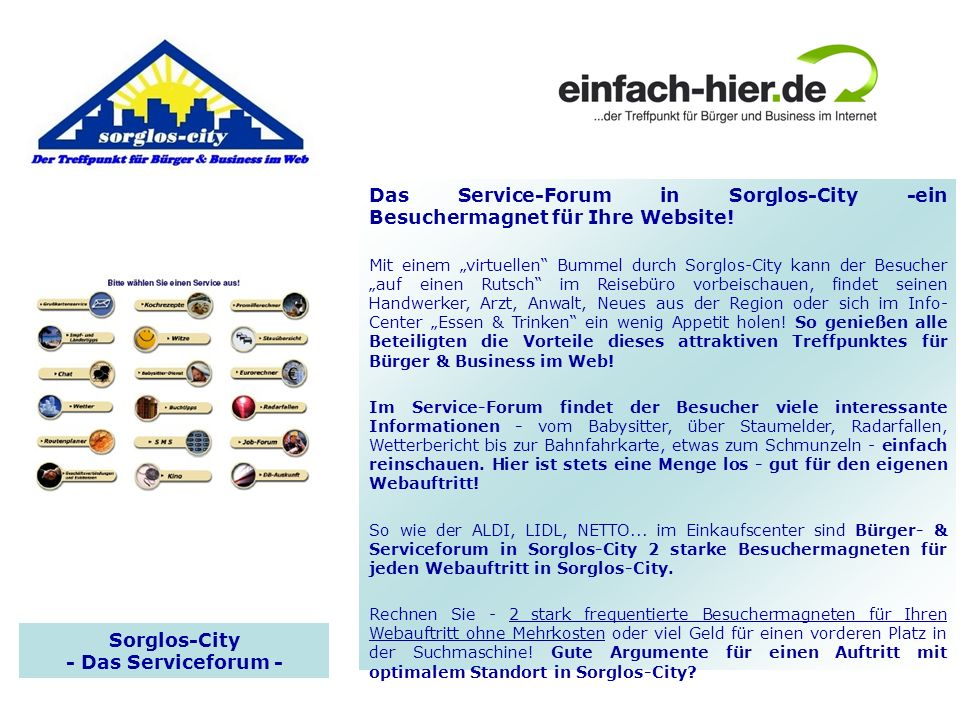 Sorglos-City - Das Serviceforum -
