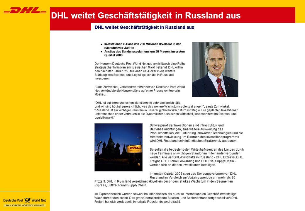 DHL weitet Geschäftstätigkeit in Russland aus