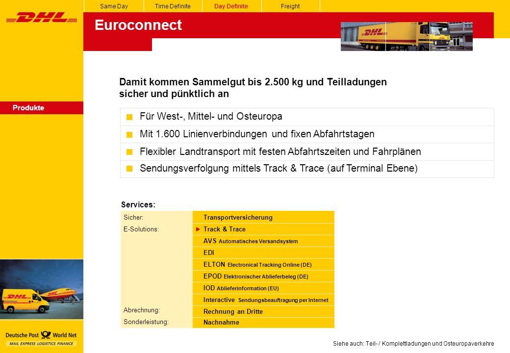 Siehe auch: Teil- / Komplettladungen und Osteuropaverkehre