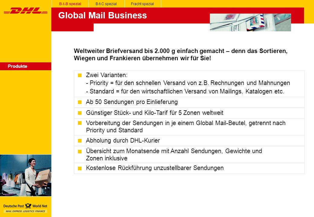 B-t-B spezial B-t-C spezial. Fracht spezial. Global Mail Business.