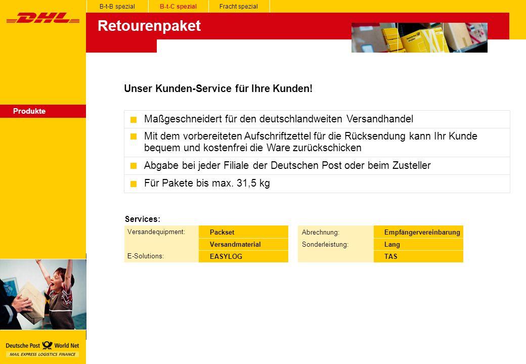 Retourenpaket Unser Kunden-Service für Ihre Kunden!