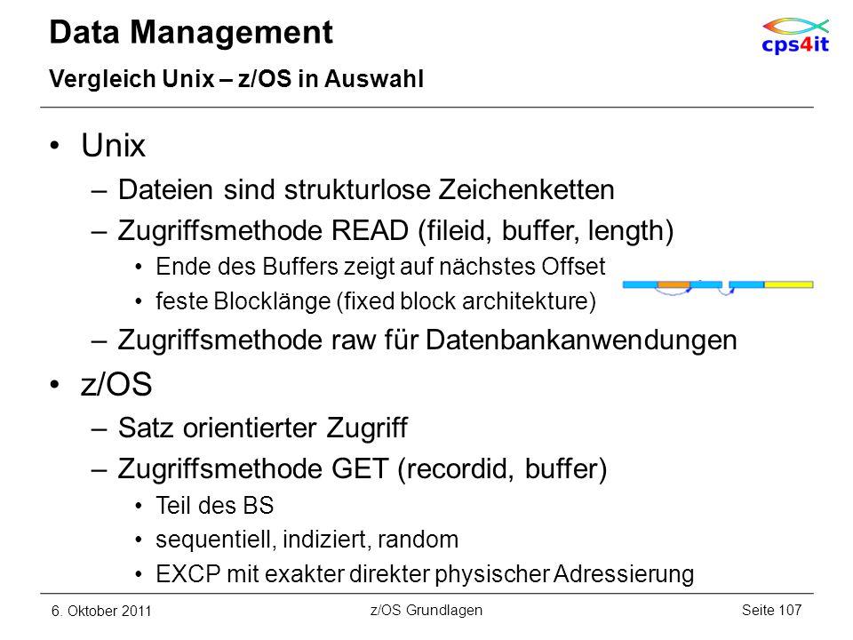 Data Management Unix z/OS Dateien sind strukturlose Zeichenketten