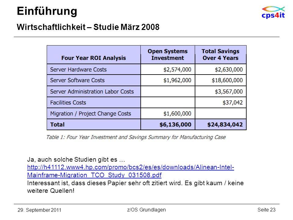 Einführung Wirtschaftlichkeit – Studie März 2008