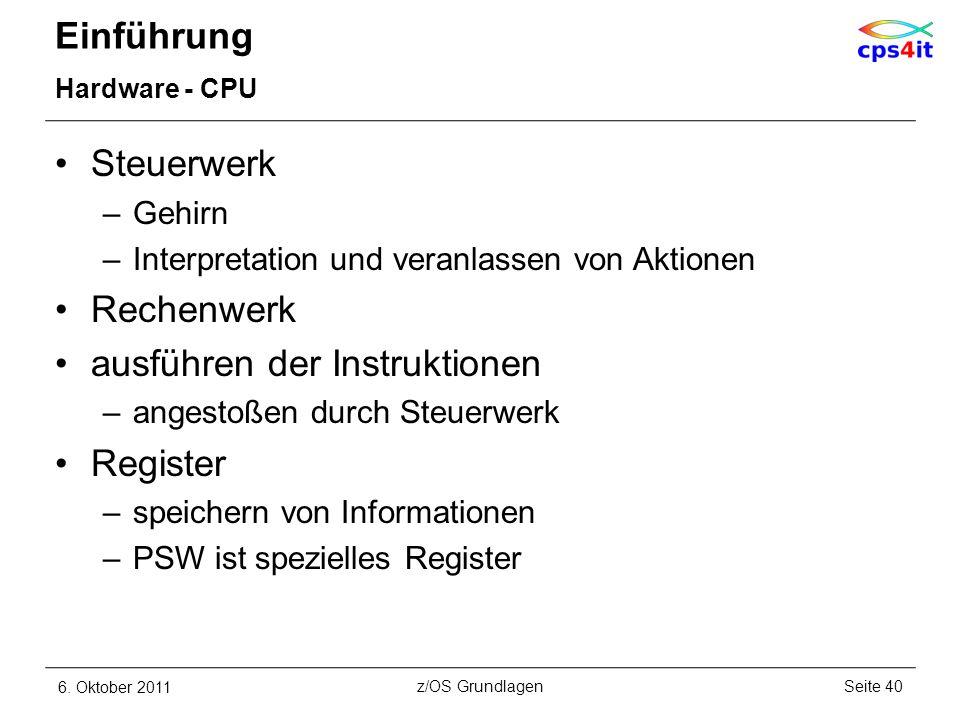 ausführen der Instruktionen Register