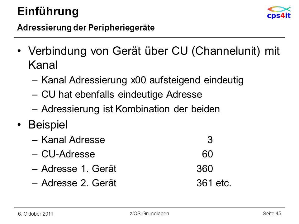 Verbindung von Gerät über CU (Channelunit) mit Kanal