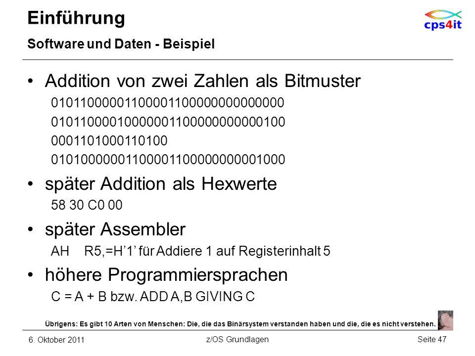 Addition von zwei Zahlen als Bitmuster