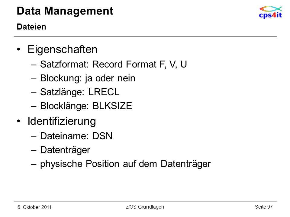 Data Management Eigenschaften Identifizierung