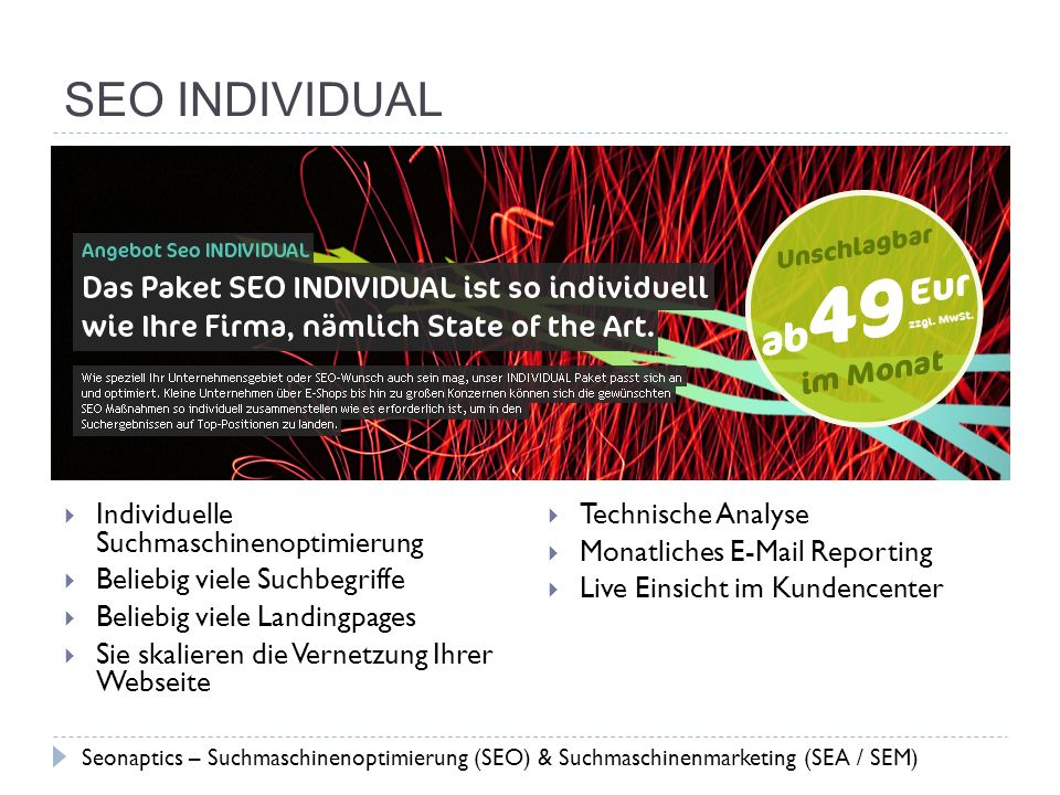 SEO INDIVIDUAL Individuelle Suchmaschinenoptimierung