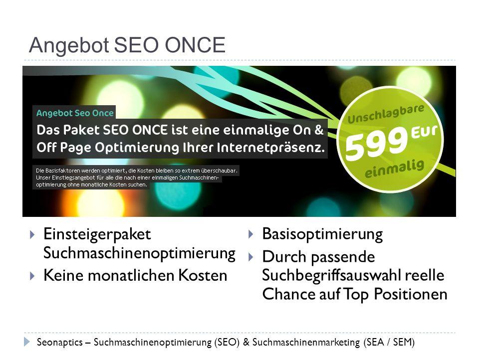 Angebot SEO ONCE Einsteigerpaket Suchmaschinenoptimierung