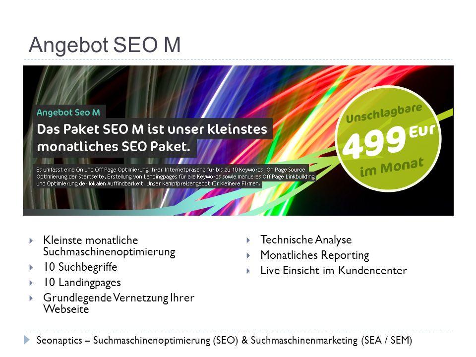 Angebot SEO M Kleinste monatliche Suchmaschinenoptimierung
