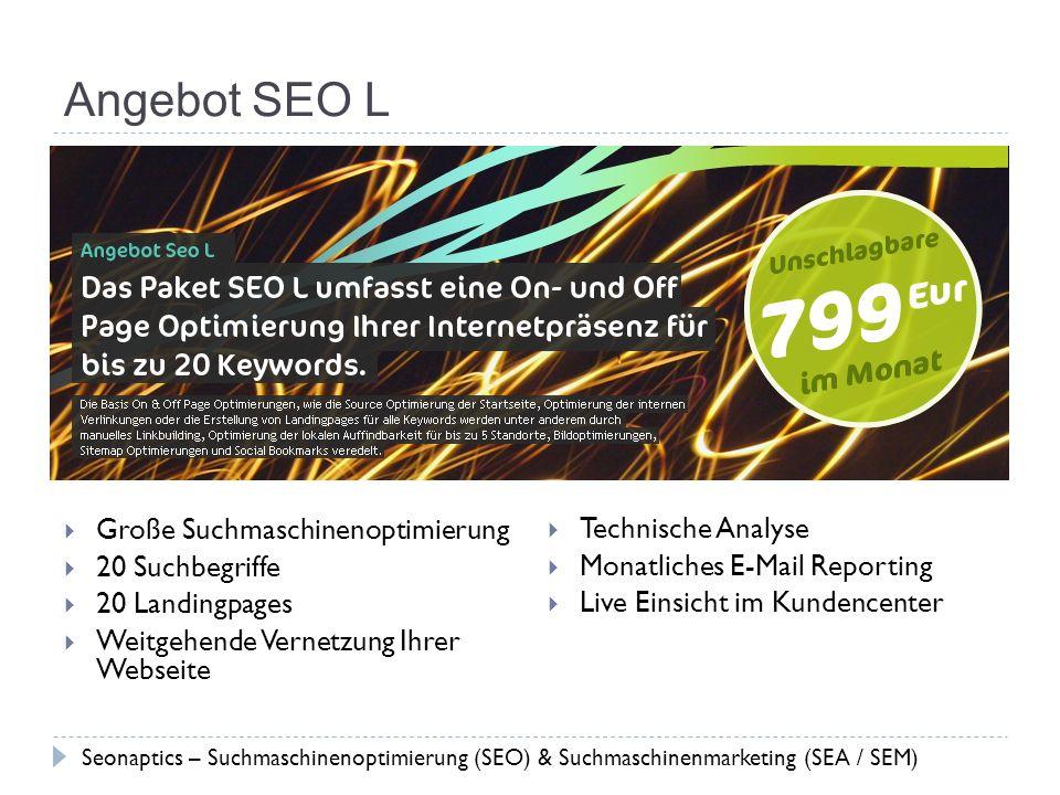 Angebot SEO L Große Suchmaschinenoptimierung 20 Suchbegriffe