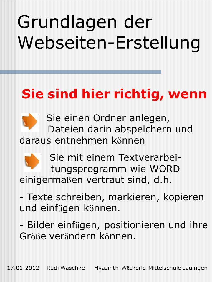 Grundlagen der Webseiten-Erstellung
