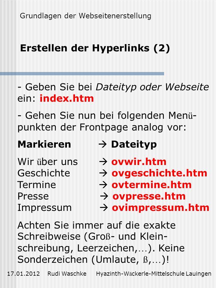 Erstellen der Hyperlinks (2)