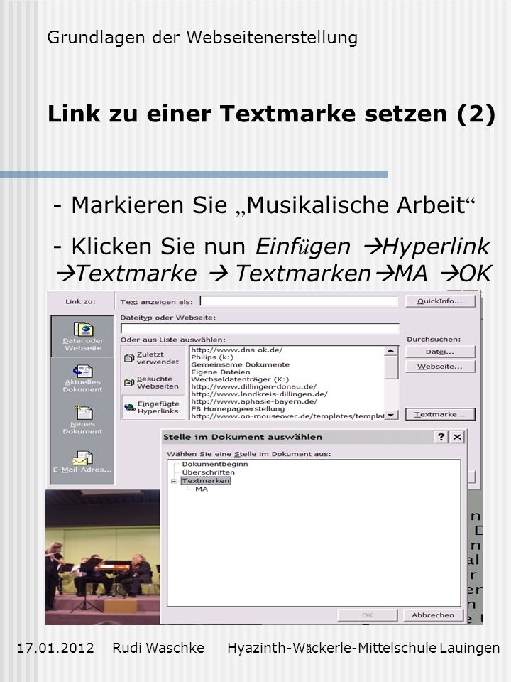Link zu einer Textmarke setzen (2)