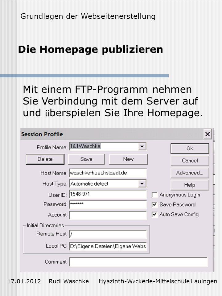 Die Homepage publizieren