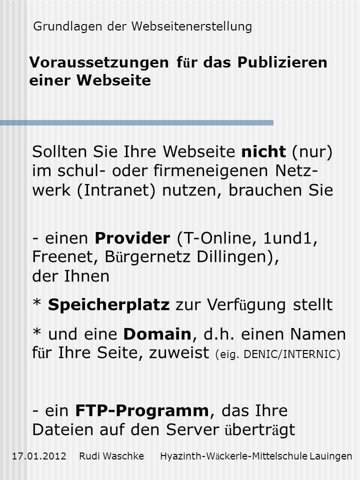 Voraussetzungen für das Publizieren einer Webseite