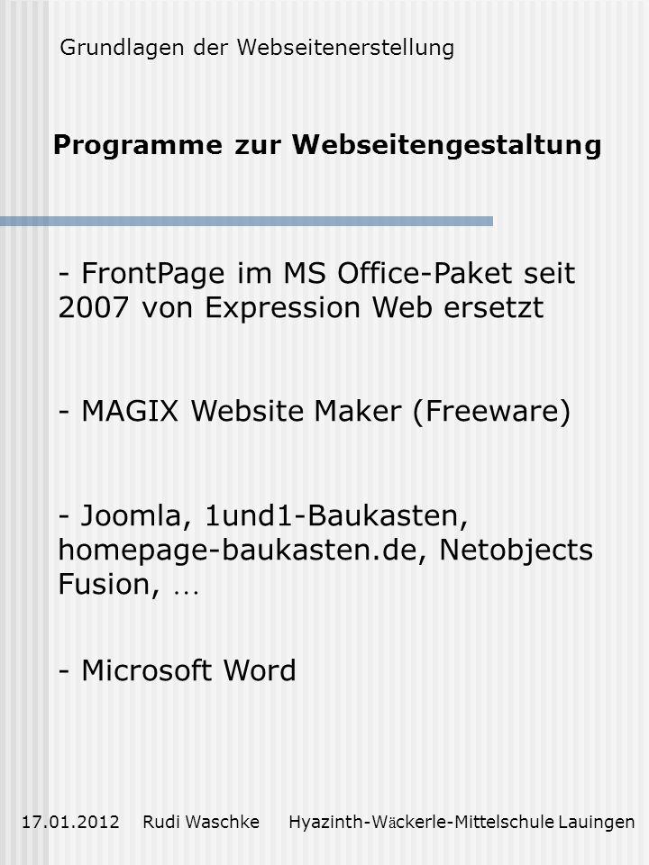 Programme zur Webseitengestaltung