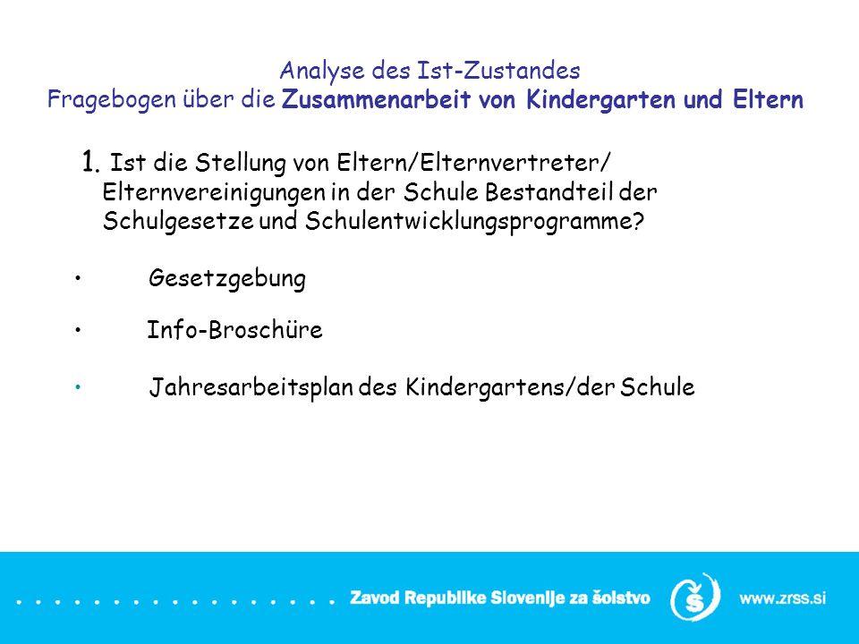 Analyse des Ist-Zustandes Fragebogen über die Zusammenarbeit von Kindergarten und Eltern