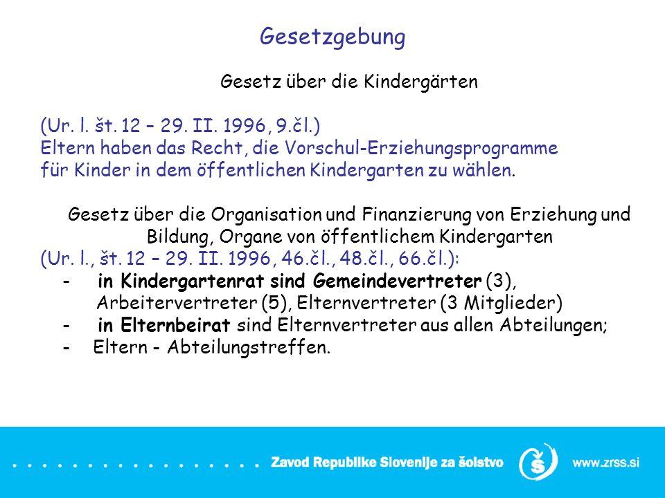 Gesetzgebung Gesetz über die Kindergärten