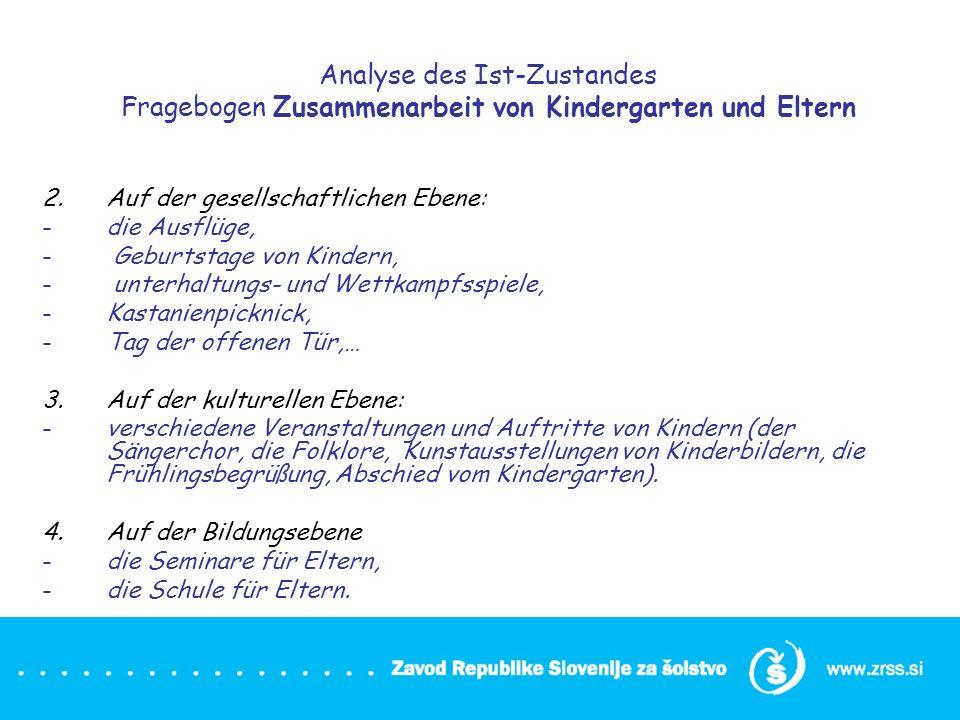 Analyse des Ist-Zustandes Fragebogen Zusammenarbeit von Kindergarten und Eltern