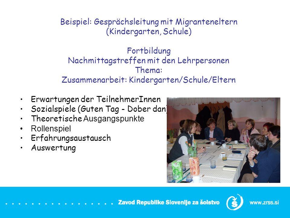 Beispiel: Gesprächsleitung mit Migranteneltern (Kindergarten, Schule)
