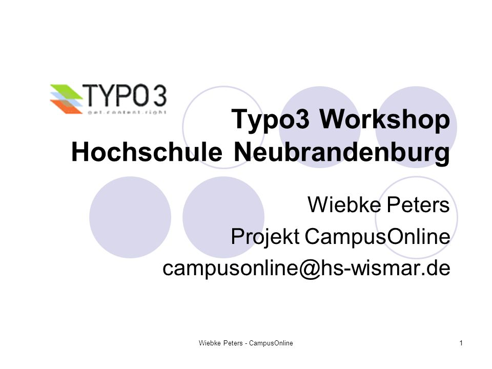 Typo3 Workshop Hochschule Neubrandenburg