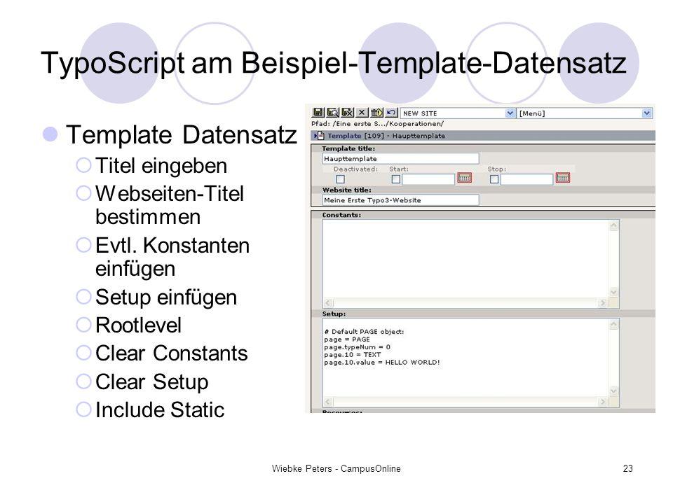 TypoScript am Beispiel-Template-Datensatz