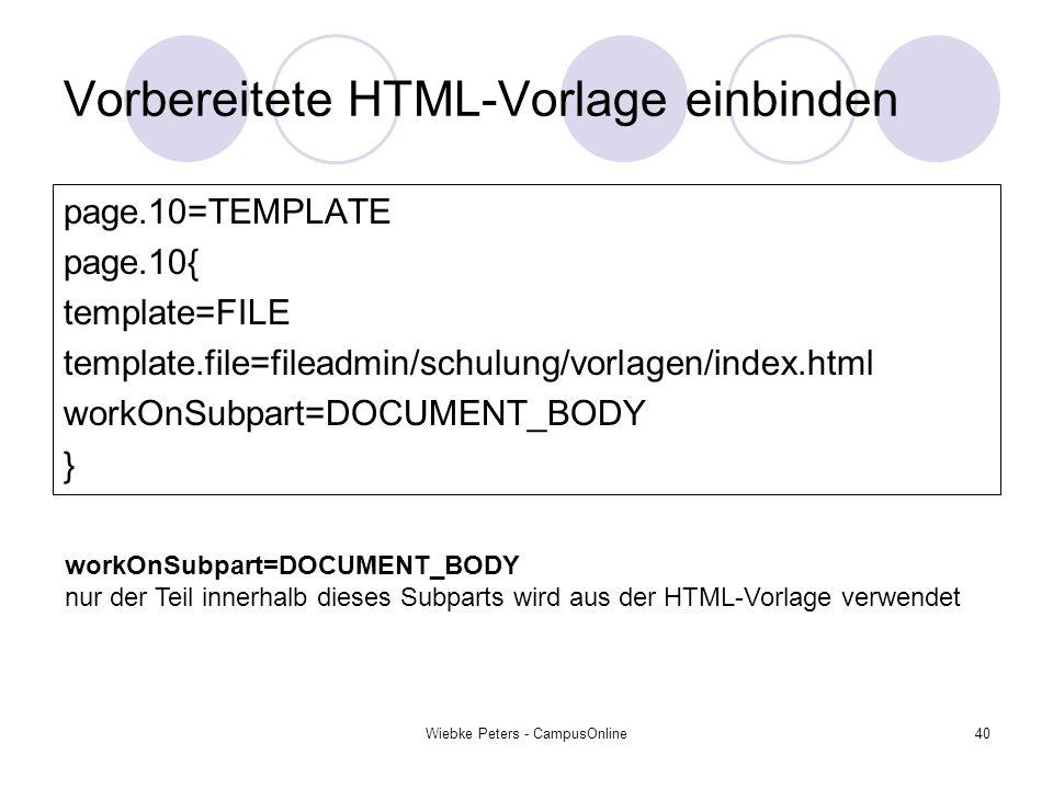 Vorbereitete HTML-Vorlage einbinden