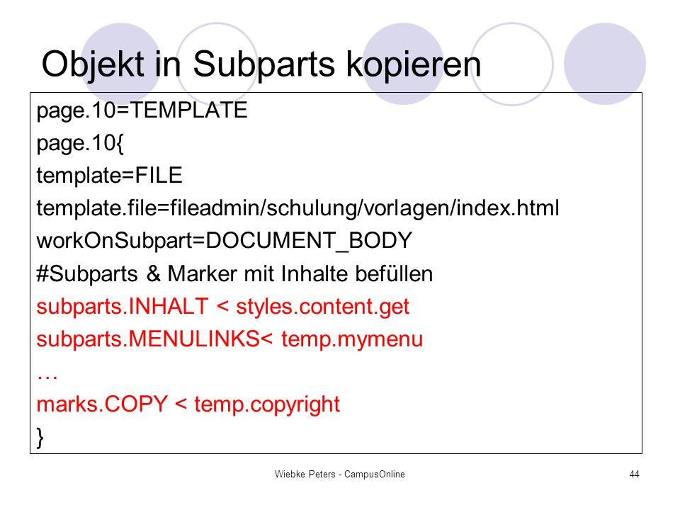 Objekt in Subparts kopieren