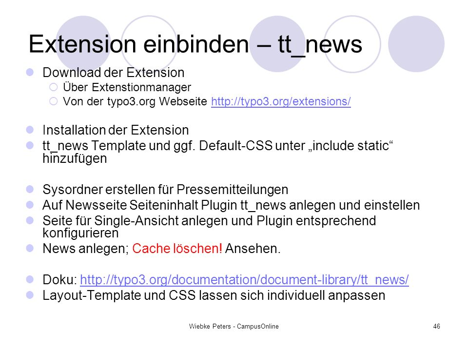 Extension einbinden – tt_news