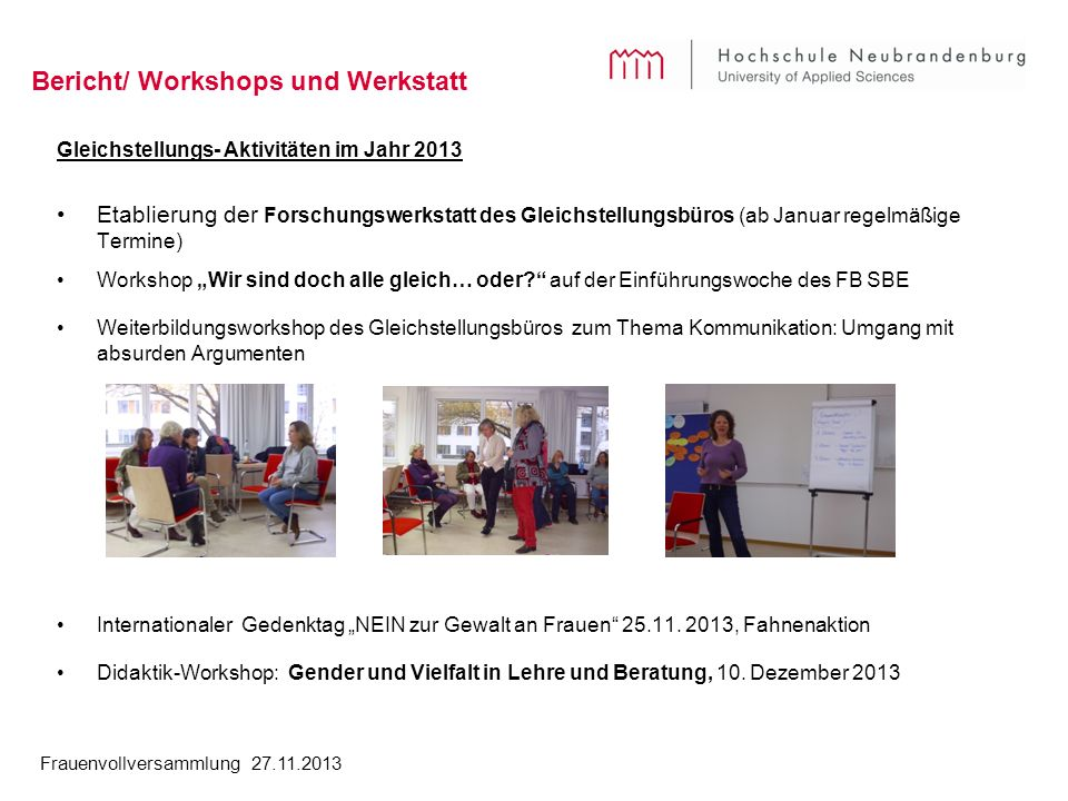 Bericht/ Workshops und Werkstatt