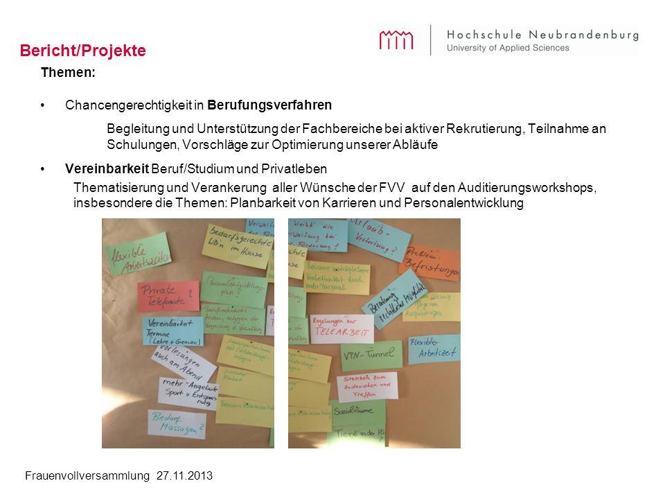 Bericht/Projekte Themen: Chancengerechtigkeit in Berufungsverfahren