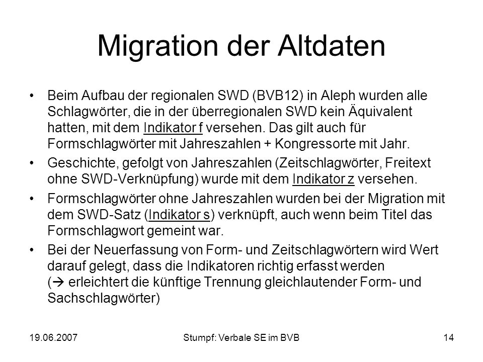 Migration der Altdaten