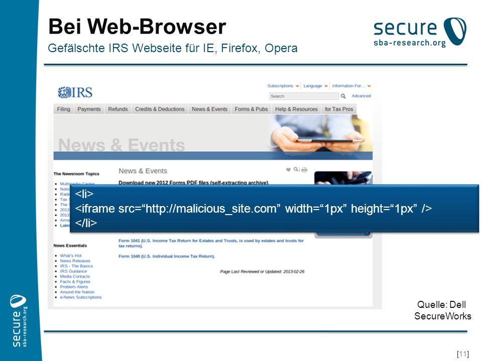Bei Web-Browser Gefälschte IRS Webseite für IE, Firefox, Opera