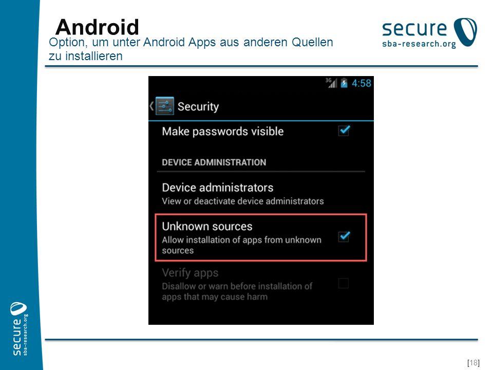 Android Option, um unter Android Apps aus anderen Quellen zu installieren