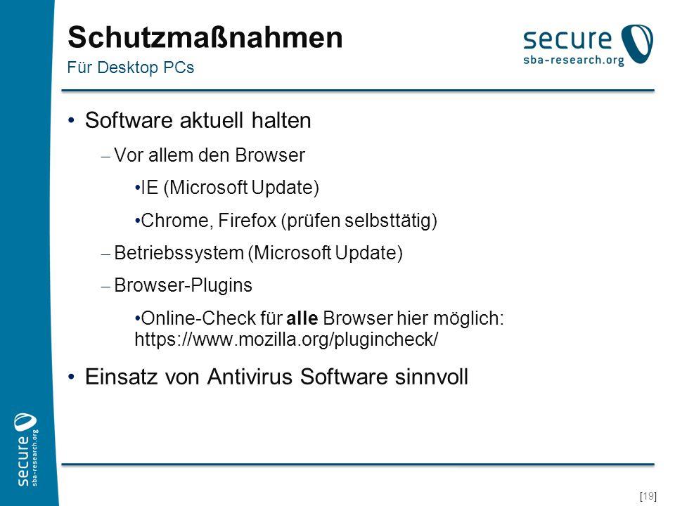 Schutzmaßnahmen Software aktuell halten