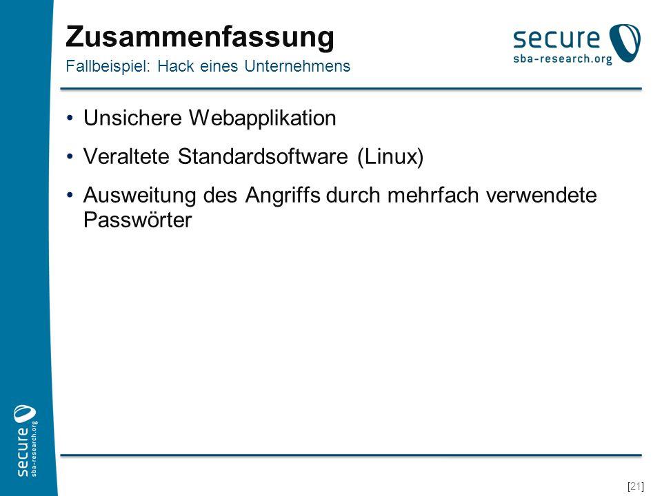 Zusammenfassung Unsichere Webapplikation