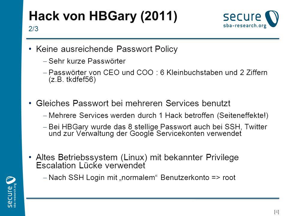 Hack von HBGary (2011) Keine ausreichende Passwort Policy