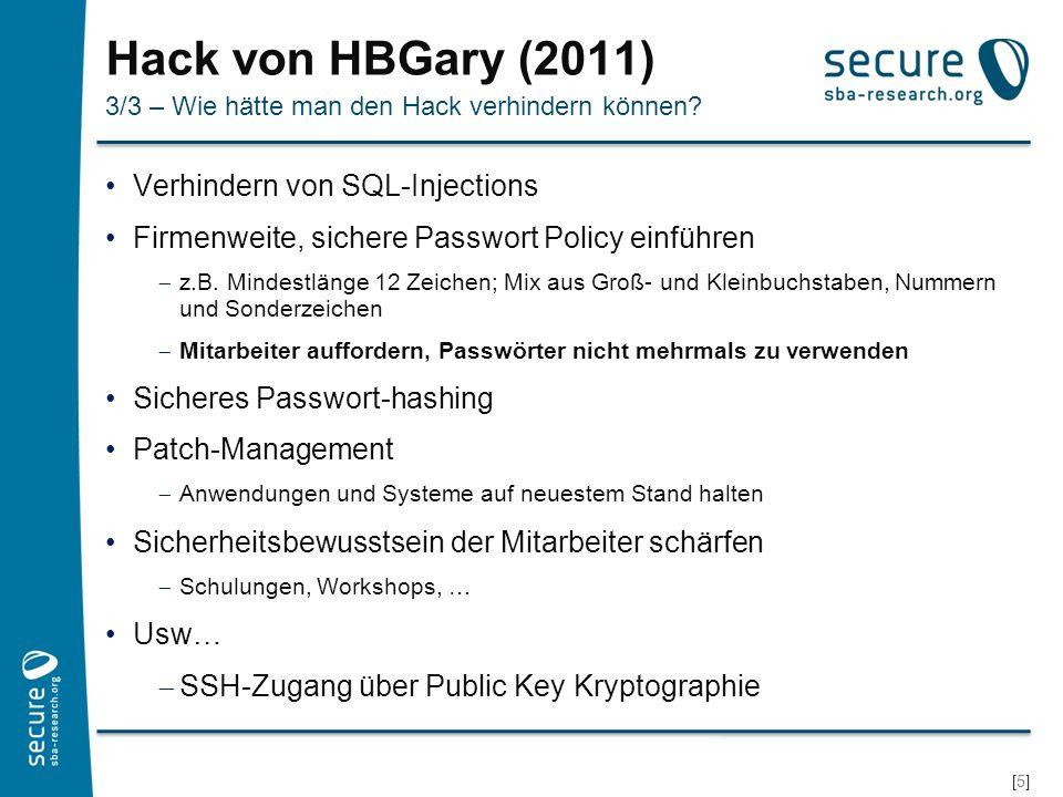 Hack von HBGary (2011) Verhindern von SQL-Injections