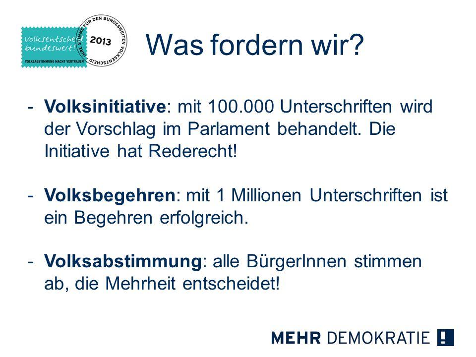 Was fordern wir Volksinitiative: mit 100.000 Unterschriften wird der Vorschlag im Parlament behandelt. Die Initiative hat Rederecht!