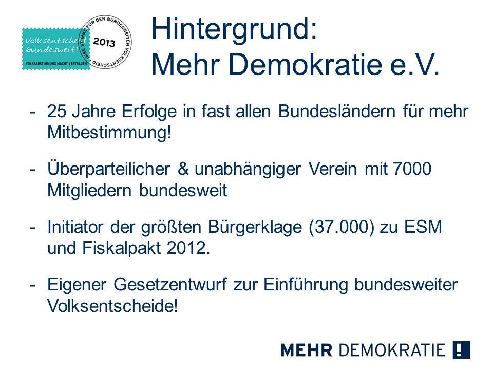 Hintergrund: Mehr Demokratie e.V.