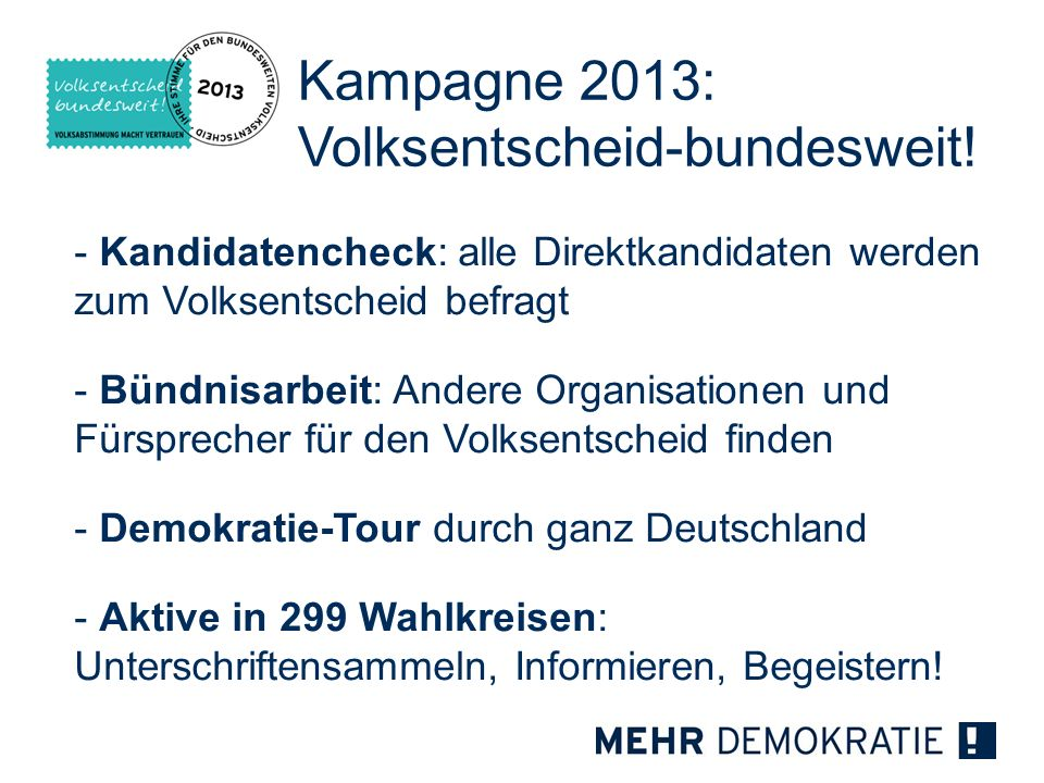 Kampagne 2013: Volksentscheid-bundesweit!