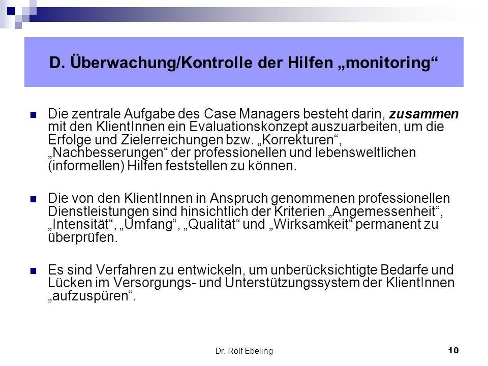 """D. Überwachung/Kontrolle der Hilfen """"monitoring"""