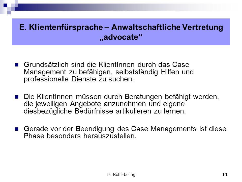 """E. Klientenfürsprache – Anwaltschaftliche Vertretung """"advocate"""