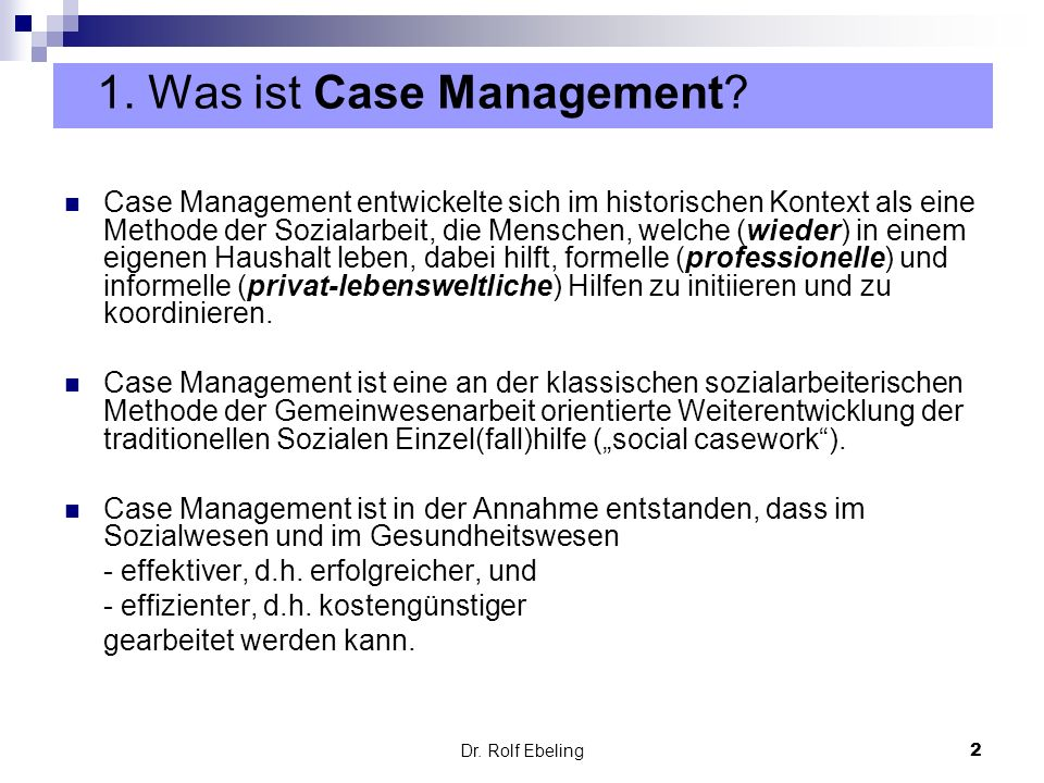 1. Was ist Case Management