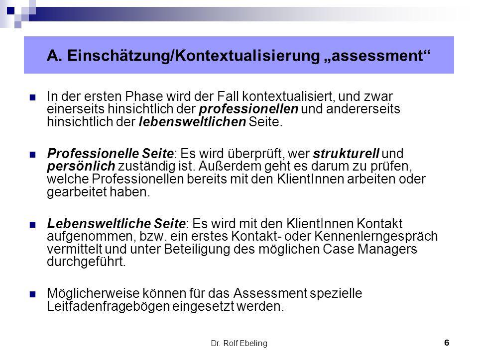 """A. Einschätzung/Kontextualisierung """"assessment"""