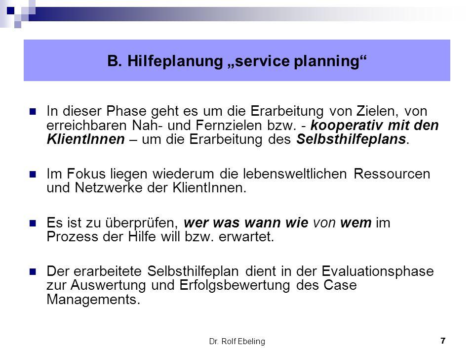 "B. Hilfeplanung ""service planning"