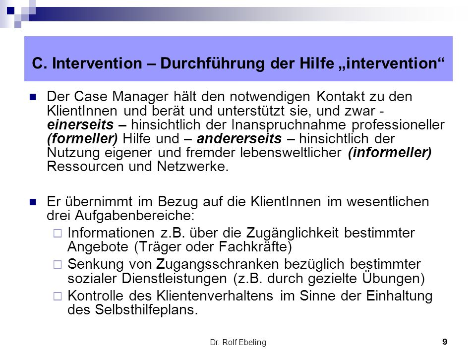 """C. Intervention – Durchführung der Hilfe """"intervention"""